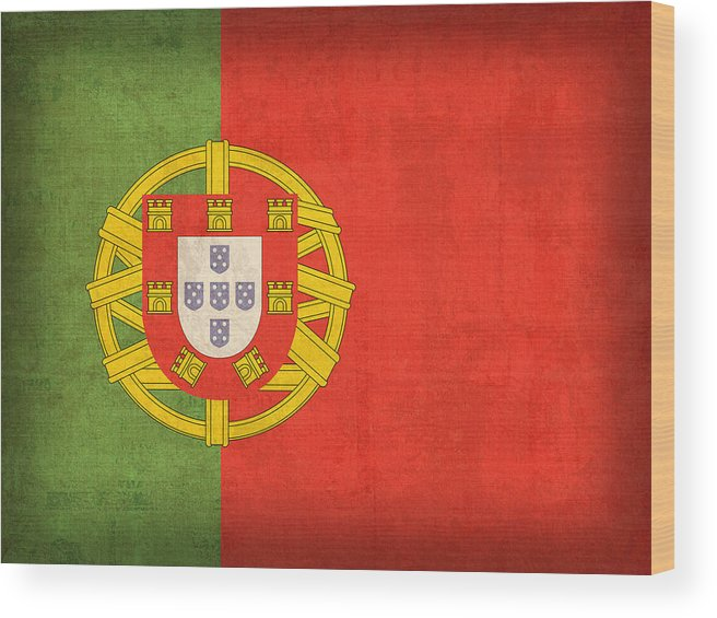 Portugal Flag Vintage Distressed Finish Lisbon Portuguese Europe Nation Country Wood Print featuring the mixed media Portugal Flag Vintage Distressed Finish by Design Turnpike
