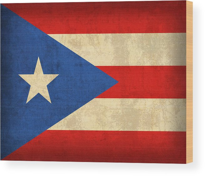 Puerto Wood Print featuring the mixed media Puerto Rico Flag Vintage Distressed Finish by Design Turnpike