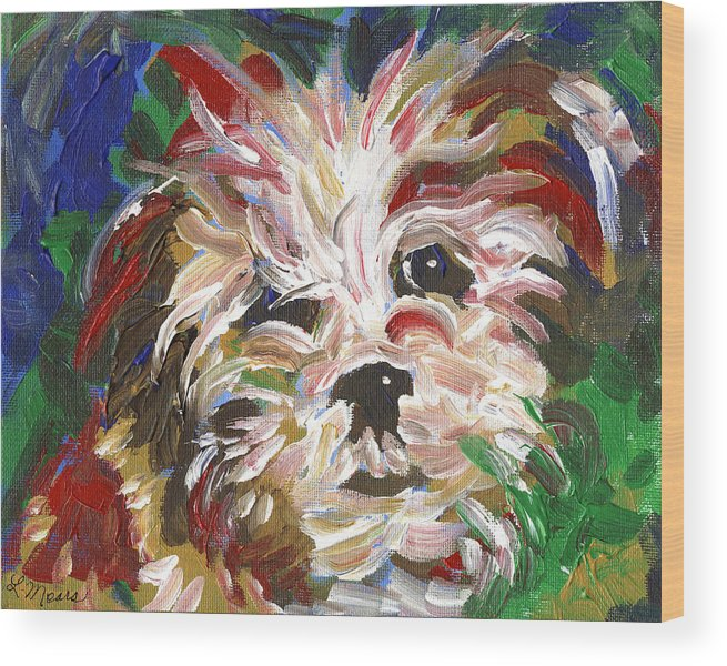 Puppy Wood Print featuring the painting Puppy Spirit 101 by Linda Mears