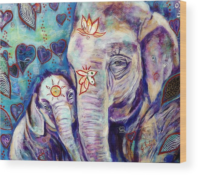 Elephant Painting Wood Print featuring the painting Purest Love by Goddess Rockstar