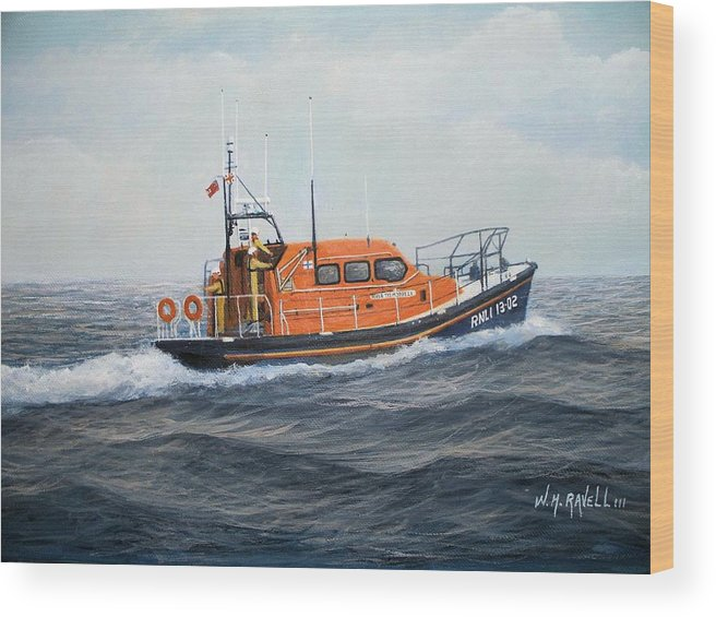Ships Wood Print featuring the painting RNLB The Morrell by William H RaVell III