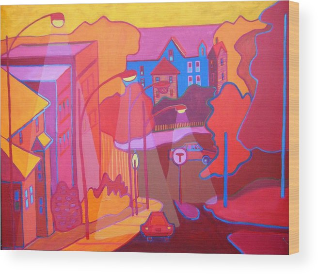 Cityscape Wood Print featuring the painting Roslindale Never Looked so Red by Debra Bretton Robinson