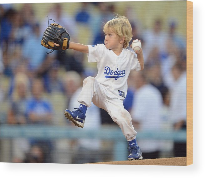 California Wood Print featuring the photograph San Diego Padres v Los Angeles Dodgers by Harry How