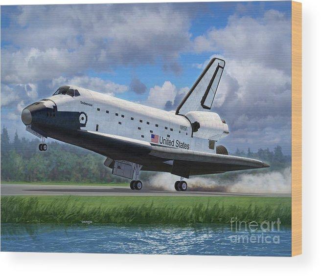 Space Wood Print featuring the digital art Shuttle Endeavour Touchdown by Stu Shepherd