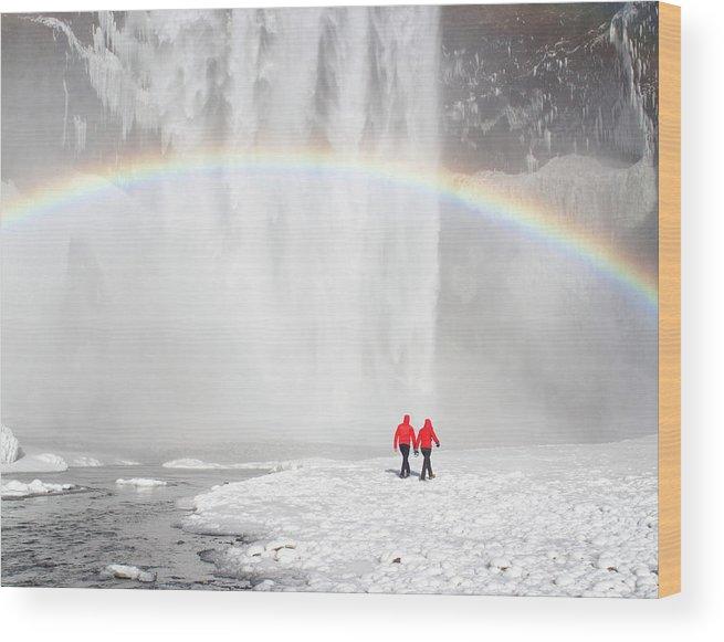 Scenics Wood Print featuring the photograph Skogafoss Waterfall, Iceland by Travelpix Ltd
