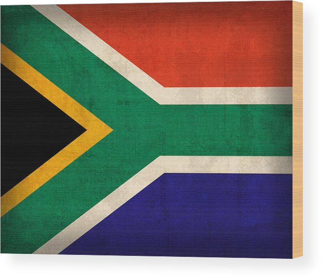 South Africa Flag Vintage Distressed Finish Wood Print featuring the mixed media South Africa Flag Vintage Distressed Finish by Design Turnpike