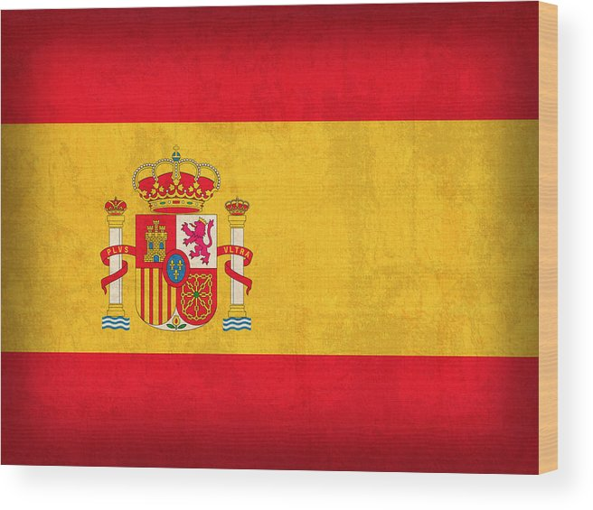 Spain Flag Vintage Distressed Finish Spanish Madrid Barcelona Europe Nation Country Wood Print featuring the mixed media Spain Flag Vintage Distressed Finish by Design Turnpike