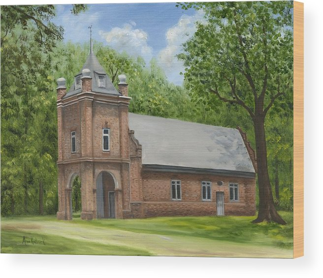 Historic Church Wood Print featuring the painting St. Peter's Church by Anne Kushnick