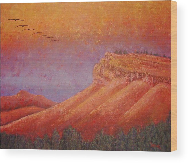 Steamboat Mountain Wood Print featuring the painting Steamboat Mountain at Sunrise by Margaret Bobb
