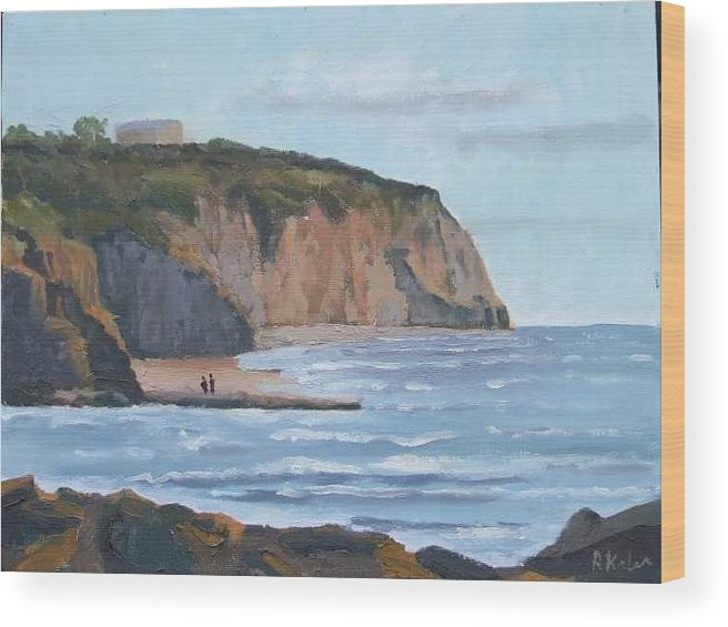 Wood Print featuring the painting Sunset Cliffs CA by Raymond Kaler