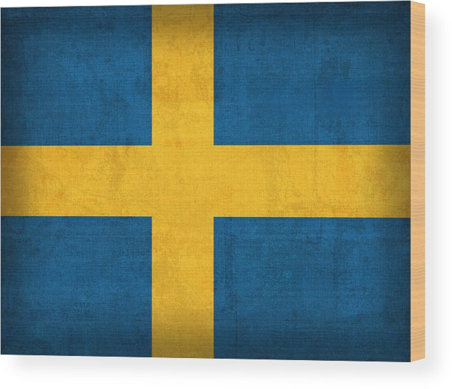 Sweden Flag Vintage Distressed Finish Wood Print featuring the mixed media Sweden Flag Vintage Distressed Finish by Design Turnpike
