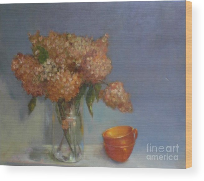 Hydrangeas Wood Print featuring the painting Teacups and Hydrangeas  copyrighted by Kate Hoekstra