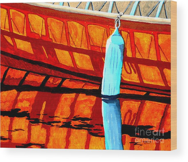 Canoe Wood Print featuring the painting The Blue Fender by Anthony Dunphy