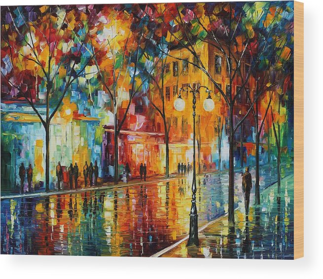 Leonid Afremov Wood Print featuring the painting The Tears Of The Fall - Palette Knife Oil Painting On Canvas By Leonid Afremov by Leonid Afremov