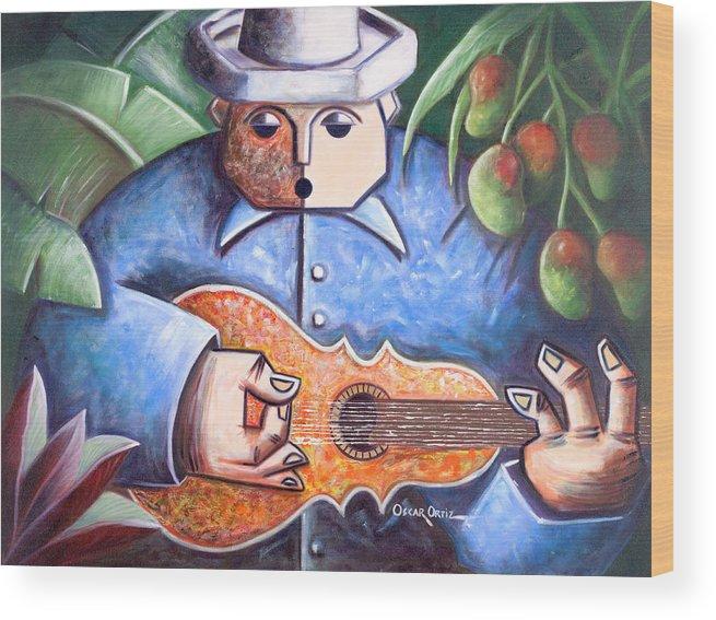 Puerto Rico Wood Print featuring the painting Trovador de mango bajito by Oscar Ortiz