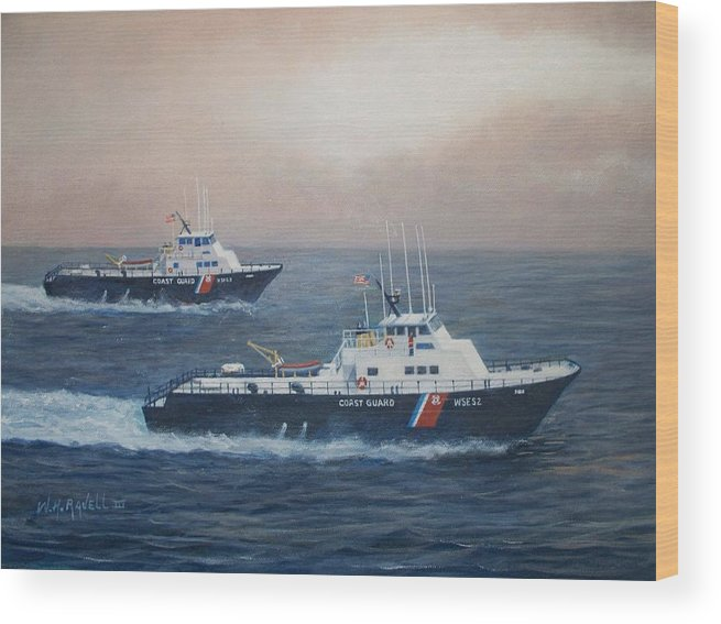 Acrylic Paintings Wood Print featuring the painting U. S. Coast Guard Surface Effects Ships Sea Sea Hawk and Shearwater by William H RaVell III