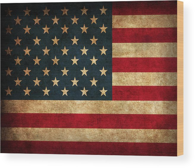 United States American Usa Flag Vintage Distressed Finish On Worn Canvas Wood Print featuring the mixed media United States American USA Flag Vintage Distressed Finish on Worn Canvas by Design Turnpike