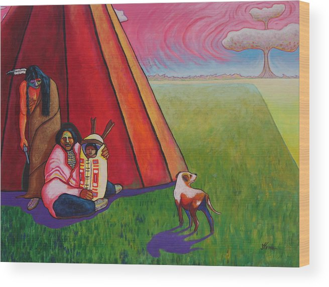 Native Wood Print featuring the painting Vanishing Race by Joe Triano