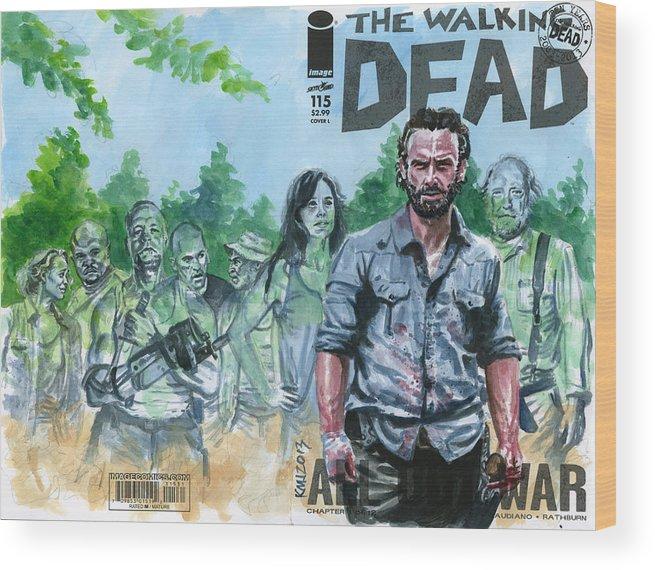 Walking Dead Wood Print featuring the painting Walking Dead Ghosts by Ken Meyer jr