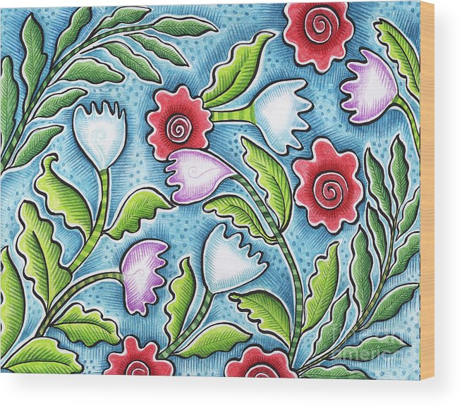 Leafy Wood Print featuring the painting Wild Flowers by Elaine Jackson