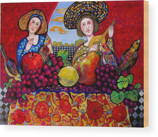 Music Wood Print featuring the painting Women fruit and music by Marilene Sawaf