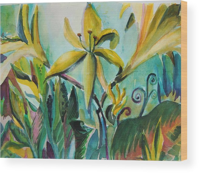 Lily Wood Print featuring the painting Yellow Day Lilies by Mindy Newman