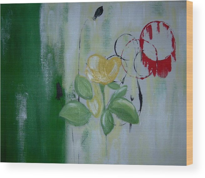Abstract Wood Print featuring the painting Yellow Rose by Joseph Ferguson
