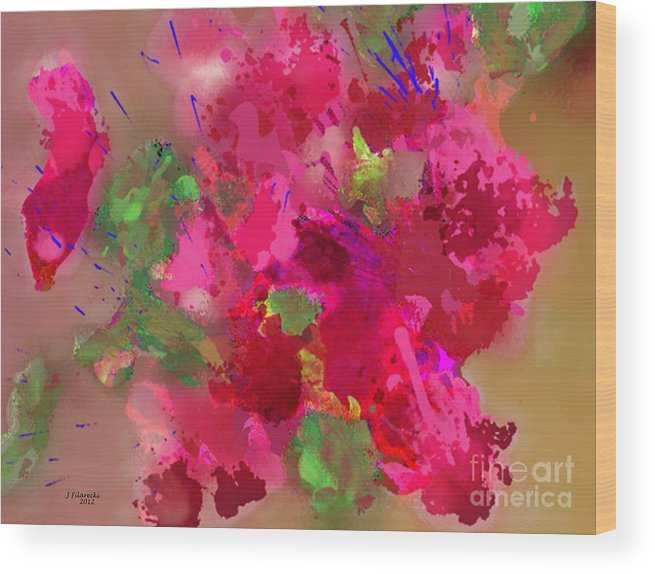Abstract Wood Print featuring the painting Abstract Bougainvillea Painting Floral Wall Art by Judy Filarecki