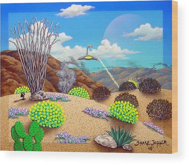 Desert Wood Print featuring the painting Afternoon Attack by Snake Jagger