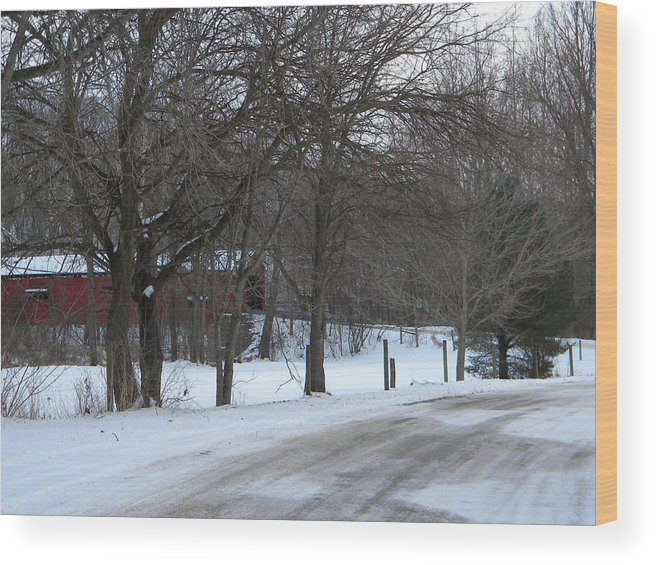 Snow Wood Print featuring the photograph Baker's Camp Covered Bridge by Helen ONeal