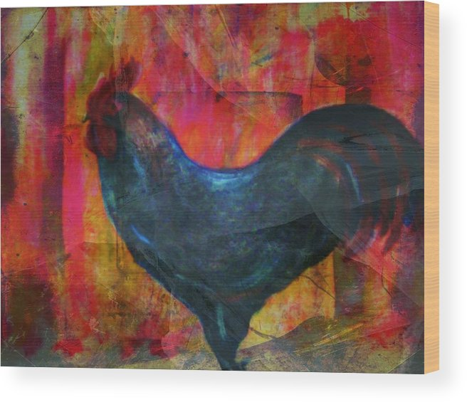 Rooster Wood Print featuring the mixed media Black Rooster by Joseph Ferguson