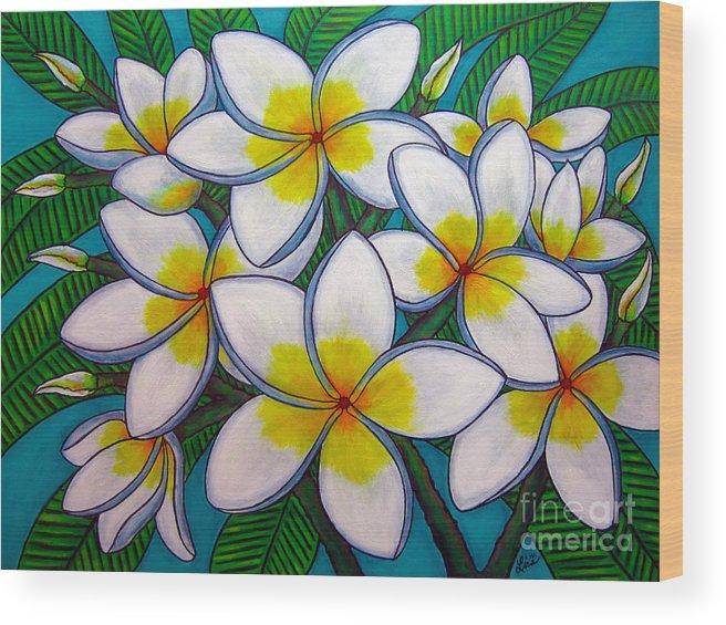 Frangipani Wood Print featuring the painting Caribbean Gems by Lisa Lorenz