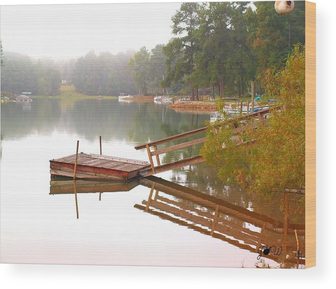 Red Wood Print featuring the photograph Dock Reflections by Judy Waller