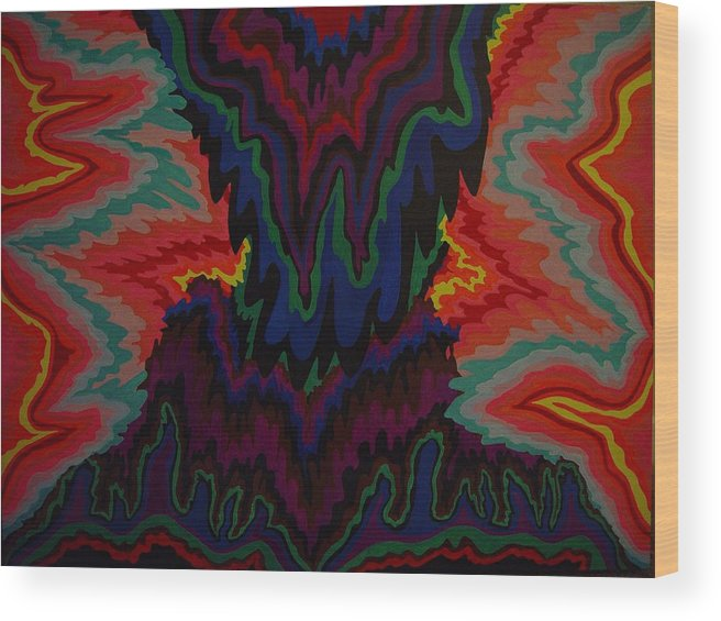 Abstract Wood Print featuring the painting Earth Wind And Fire by Mae Hermansen