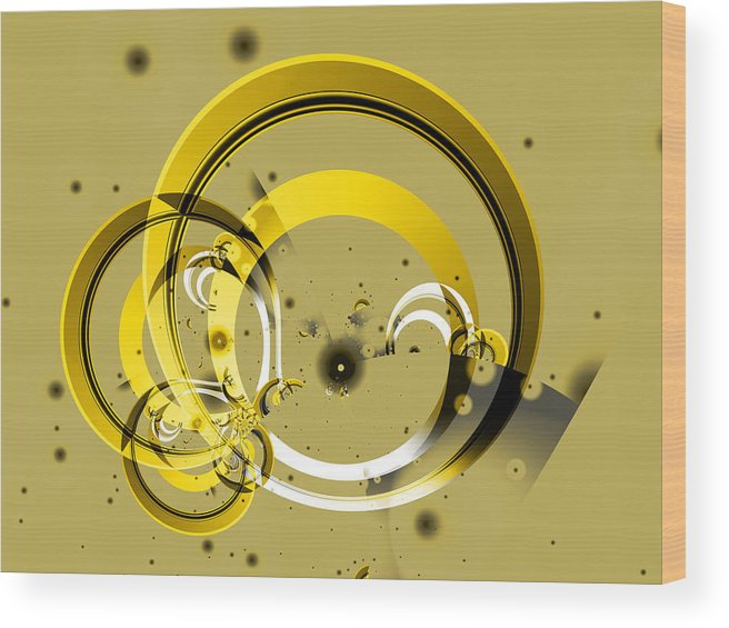 Fractal Wood Print featuring the digital art Golden Rings by Frederic Durville