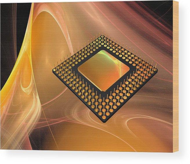 Horizontal Wood Print featuring the digital art Microprocessor Chip, Artwork by Laguna Design