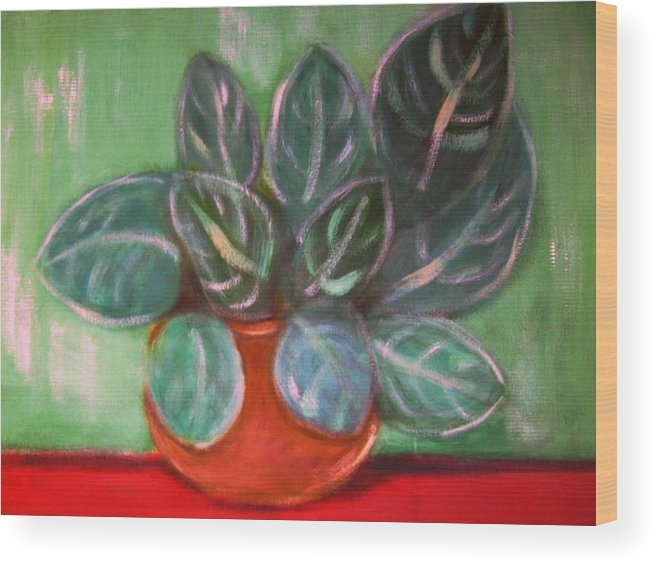Potted Plan Wood Print featuring the painting Potted Plant by Joseph Ferguson