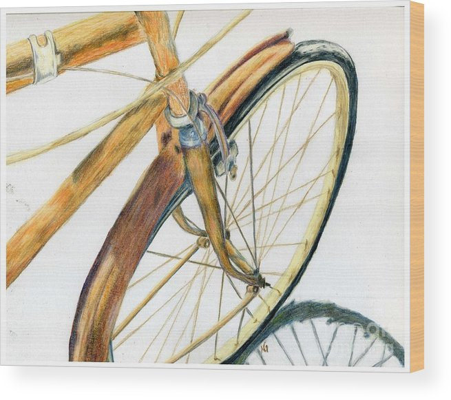 Drawing Wood Print featuring the drawing Rusty Beach Bike by Norma Gafford