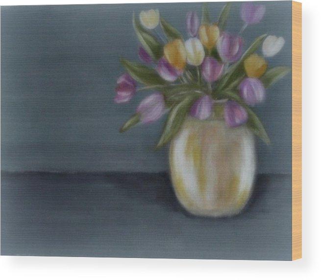 Digital Rendering Wood Print featuring the digital art Tulips in vase II by Joseph Ferguson