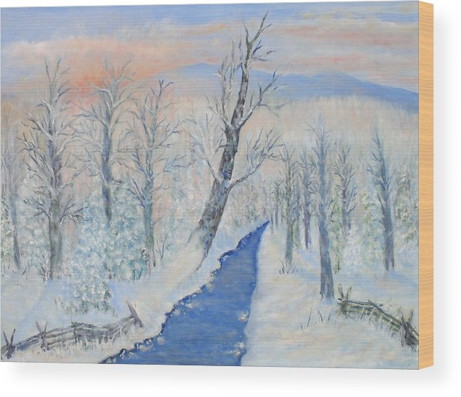 Winter Wood Print featuring the painting Winter Sunrise by Ben Kiger