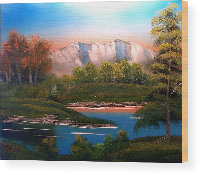 Landscape Wood Print featuring the painting Sunset Behind the Ridge by Dina Sierra