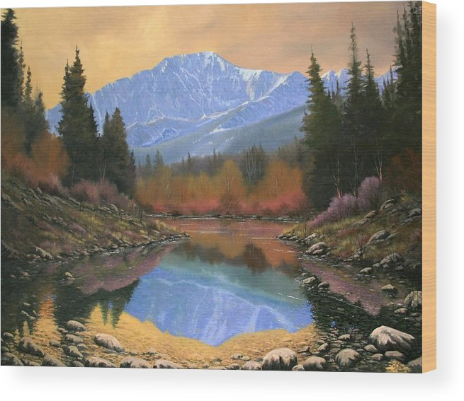Landscape Wood Print featuring the painting 080220-4030 In All Its Glory - Pikes Peak by Kenneth Shanika