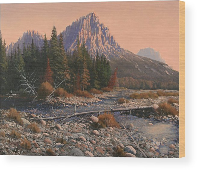 Rocky Mountain Landscape Wood Print featuring the painting 080525-1620 Fading Light On Horse Thief Creek by Kenneth Shanika