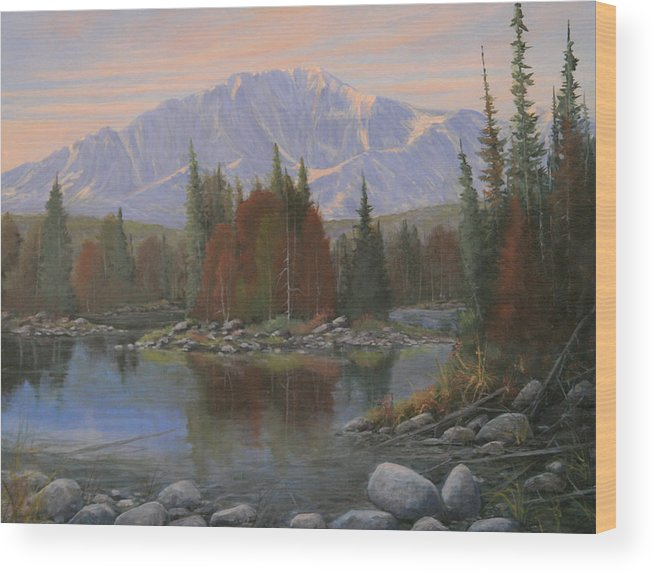 Landscape Wood Print featuring the painting 090506-1418  Colorado Morning by Kenneth Shanika