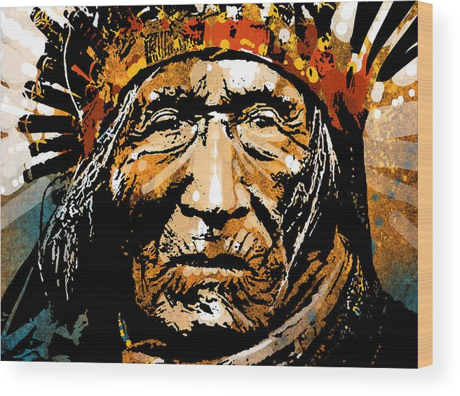 Native American Wood Print featuring the painting He Dog by Paul Sachtleben