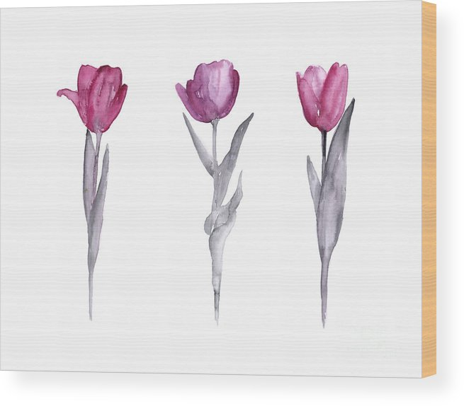 Tulips Wood Print featuring the painting Purple tulips watercolor painting by Joanna Szmerdt