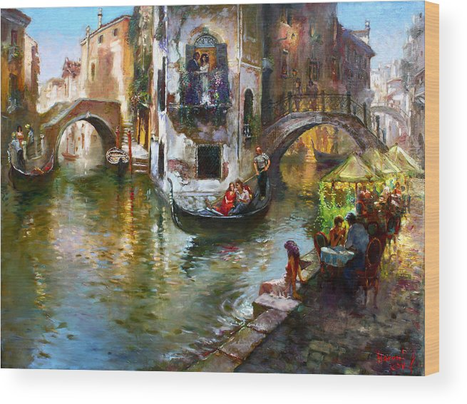 Romance In Venice Wood Print featuring the painting Romance in Venice by Ylli Haruni