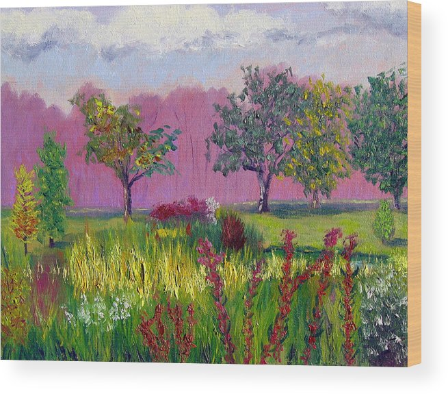 Landscape Wood Print featuring the painting Sewp 9 24 by Stan Hamilton