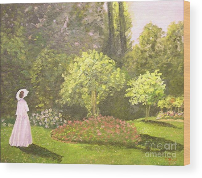 Landscape Painting Wood Print featuring the painting Lady in garden by Nicholas Minniti