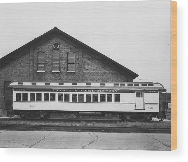 Passenger Trains Wood Print featuring the photograph Refurbished Car 7411 - 1960 by Chicago and North Western Historical Society